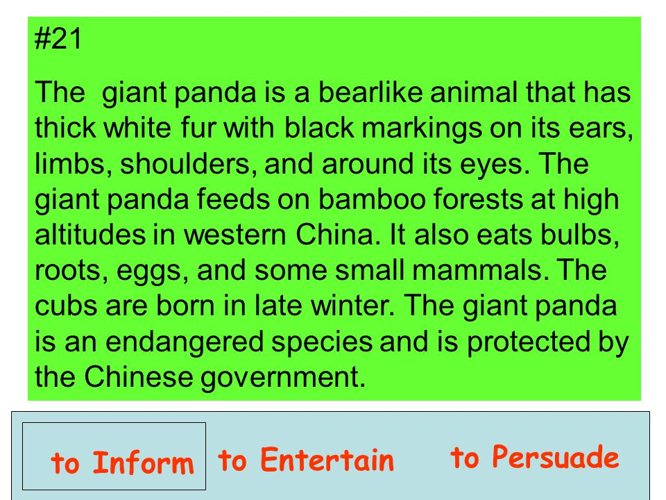 to Inform to Entertain to Persuade #21 The giant panda is a bearlike animal that has thick white fur with black markings on its ears, limbs, shoulders