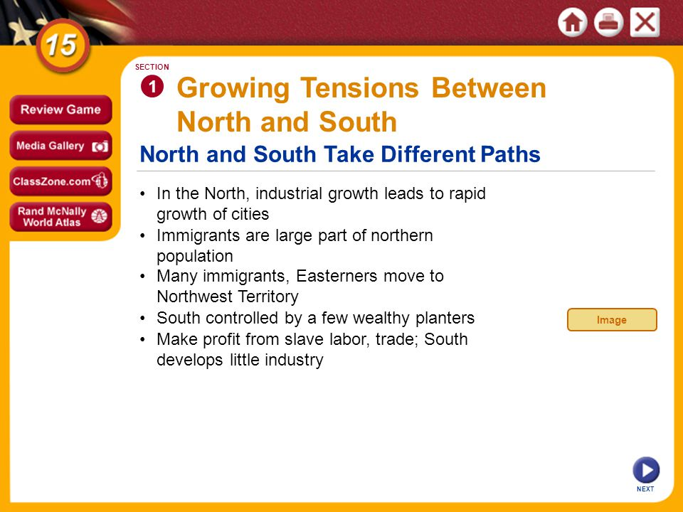 North and South Take Different Paths NEXT Growing Tensions Between North and South In the North, industrial growth leads to rapid growth of cities 1 S