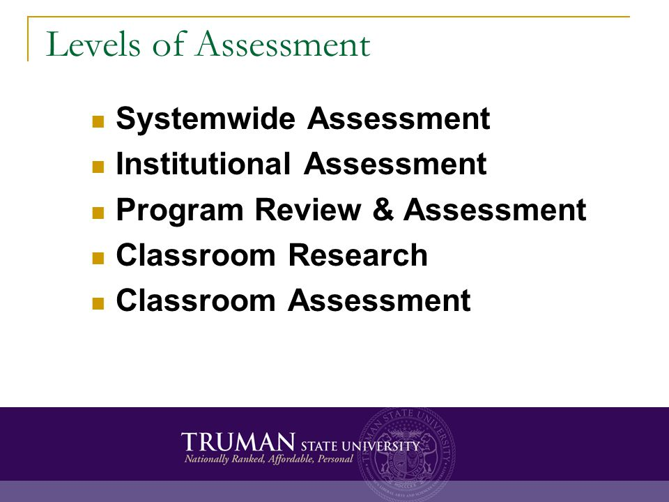 Key Characteristics of Classroom Assessment It is rooted in the pedagogy of individual faculty members It is focused upon learning It can be easily implemented on the fly and customized at will (context specific) It is formative assessment (feedback), not summative assessment (evaluation)