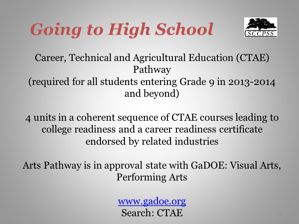 Going to High School Career, Technical and Agricultural Education (CTAE) Pathway (required for all students entering Grade 9 in 2013-2014 and beyond) 4 units in a coherent sequence of CTAE courses leading to college readiness and a career readiness certificate endorsed by related industries Arts Pathway is in approval state with GaDOE: Visual Arts, Performing Arts www.gadoe.org Search: CTAE 14