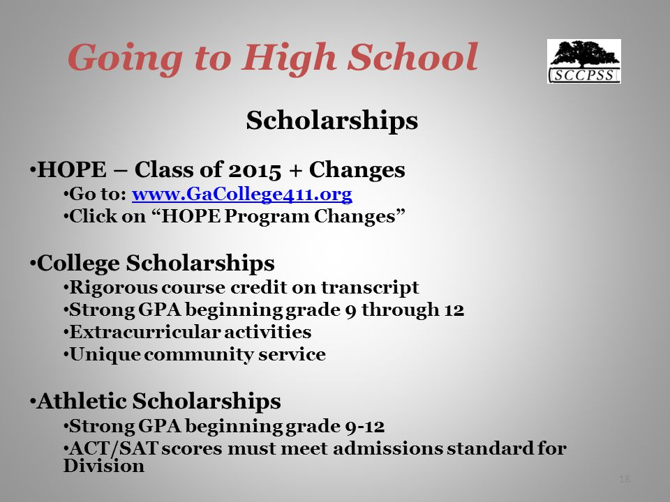Going to High School Scholarships HOPE – Class of 2015 + Changes Go to: www.GaCollege411.orgwww.GaCollege411.org Click on HOPE Program Changes College Scholarships Rigorous course credit on transcript Strong GPA beginning grade 9 through 12 Extracurricular activities Unique community service Athletic Scholarships Strong GPA beginning grade 9-12 ACT/SAT scores must meet admissions standard for Division 18