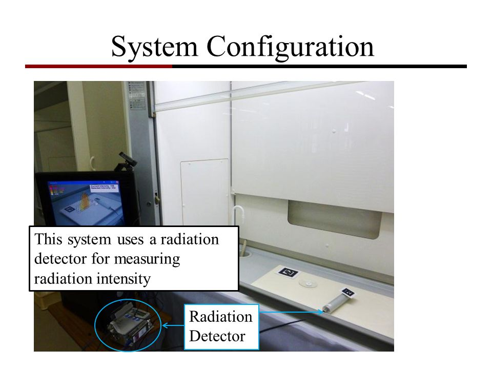 System Configuration USB Camera 3D Graphics PC Radiation Detector Radioactive Source AR-Tags This system uses a radiation detector for measuring radia