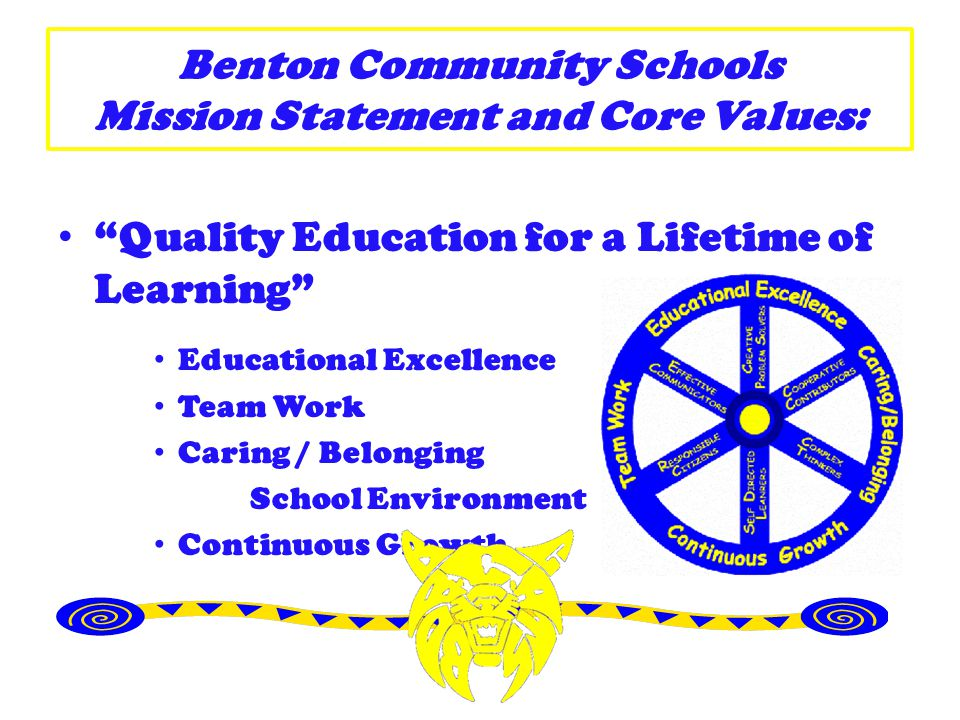 Benton Community Schools Mission Statement and Core Values: Quality Education for a Lifetime of Learning Educational Excellence Team Work Caring / Bel