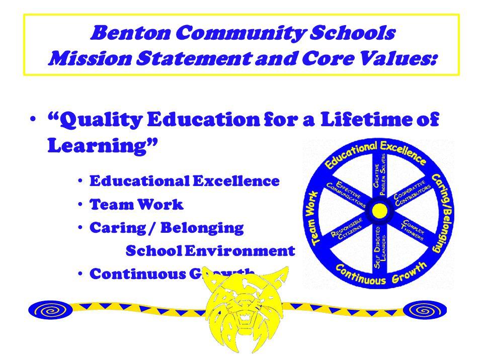 Benton Community School District A Place To Belong Bobcat Standards: Creative Problem Solvers Cooperative Contributors Complex Thinkers Self-Directed Learners Responsible Citizens Effective Communicators
