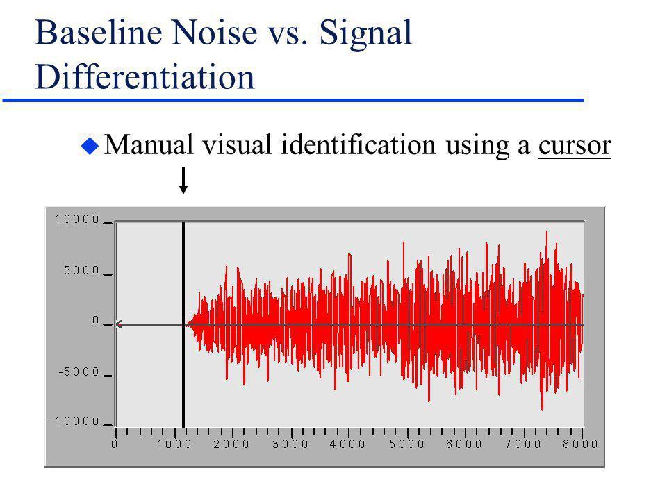 Baseline Noise vs. Signal Differentiation u Manual visual identification using a cursor