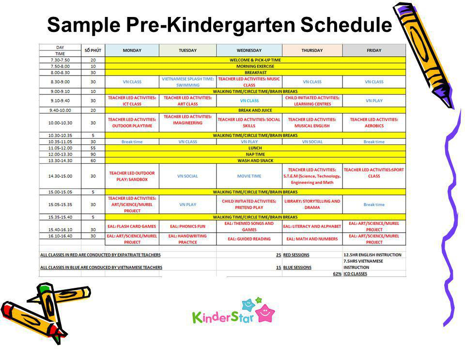 Sample Pre-Kindergarten Schedule