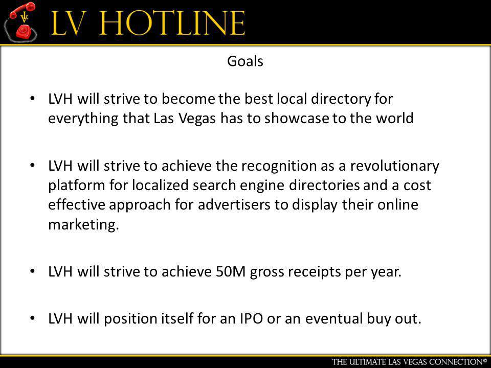 Goals LVH will strive to become the best local directory for everything that Las Vegas has to showcase to the world LVH will strive to achieve the recognition as a revolutionary platform for localized search engine directories and a cost effective approach for advertisers to display their online marketing.