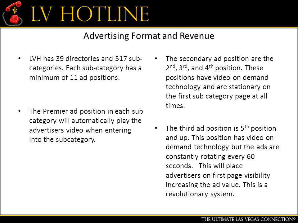 Advertising Format and Revenue LVH has 39 directories and 517 sub- categories.