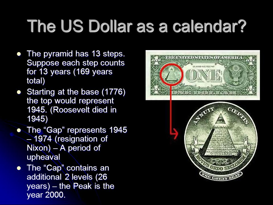 The US Dollar as a calendar? The pyramid has 13 steps. Suppose each step counts for 13 years (169 years total) The pyramid has 13 steps. Suppose each