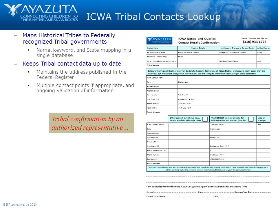 8 © H7 interactive, llc 2010 Tribal confirmation by an authorized representative… ICWA Tribal Contacts Lookup – Maps Historical Tribes to Federally recognized Tribal governments Name, keyword, and State mapping in a single database – Keeps Tribal contact data up to date Maintains the address published in the Federal Register Multiple contact points if appropriate, and ongoing validation of information