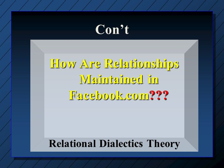 Ideal Relationships versus Relational Dialectics nRnRelationships are not developed in a patterned and often linear way Disclosure SimilarityIntimacy CertaintySatisfaction