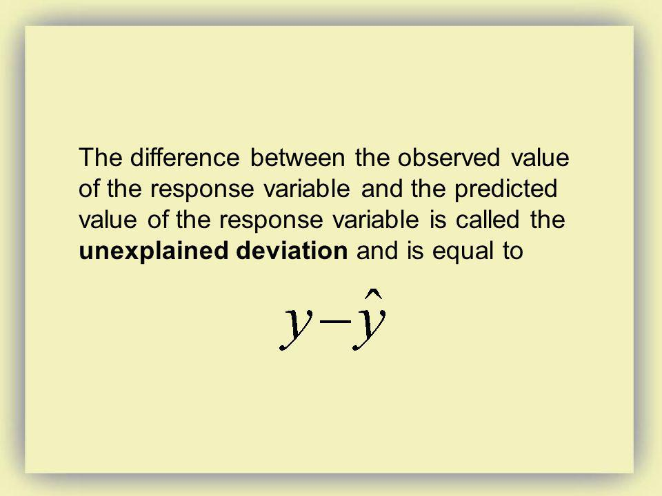 The difference between the observed value of the response variable and the predicted value of the response variable is called the unexplained deviatio
