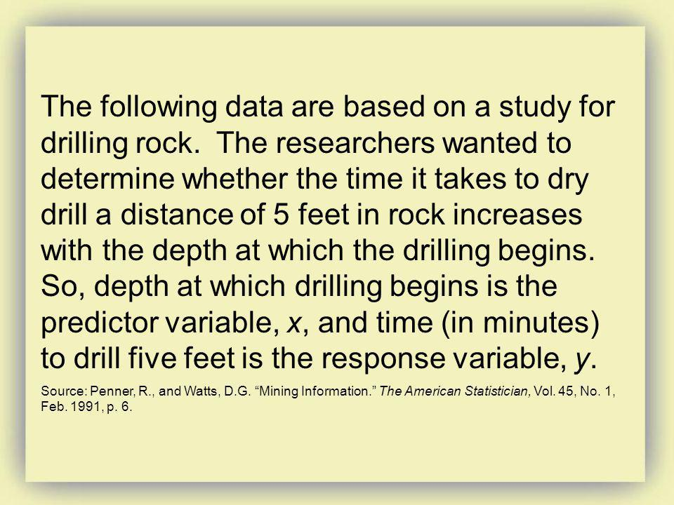 The following data are based on a study for drilling rock. The researchers wanted to determine whether the time it takes to dry drill a distance of 5