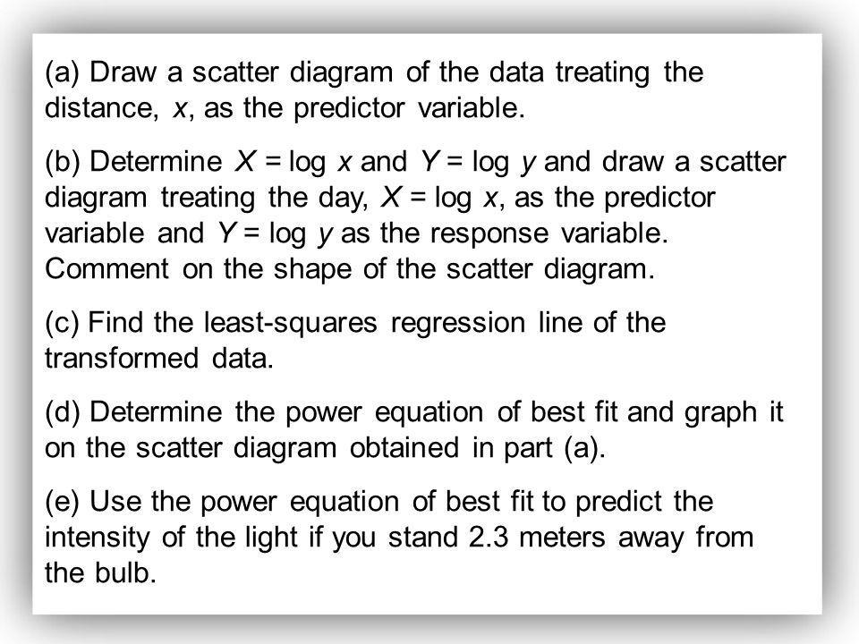 (a) Draw a scatter diagram of the data treating the distance, x, as the predictor variable. (b) Determine X = log x and Y = log y and draw a scatter d
