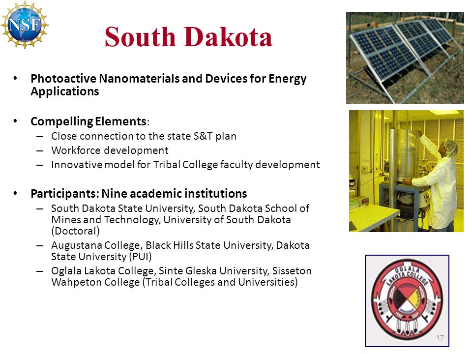 South Dakota Photoactive Nanomaterials and Devices for Energy Applications Compelling Elements : – Close connection to the state S&T plan – Workforce development – Innovative model for Tribal College faculty development Participants: Nine academic institutions – South Dakota State University, South Dakota School of Mines and Technology, University of South Dakota (Doctoral) – Augustana College, Black Hills State University, Dakota State University (PUI) – Oglala Lakota College, Sinte Gleska University, Sisseton Wahpeton College (Tribal Colleges and Universities) 17