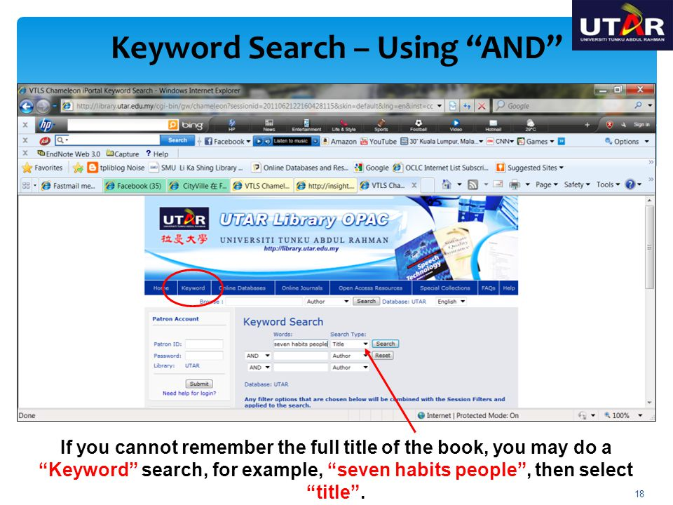 Keyword Search – Using AND OR, If you can remember the name of the author and a few words of the title, you may do a combination of author and title search.