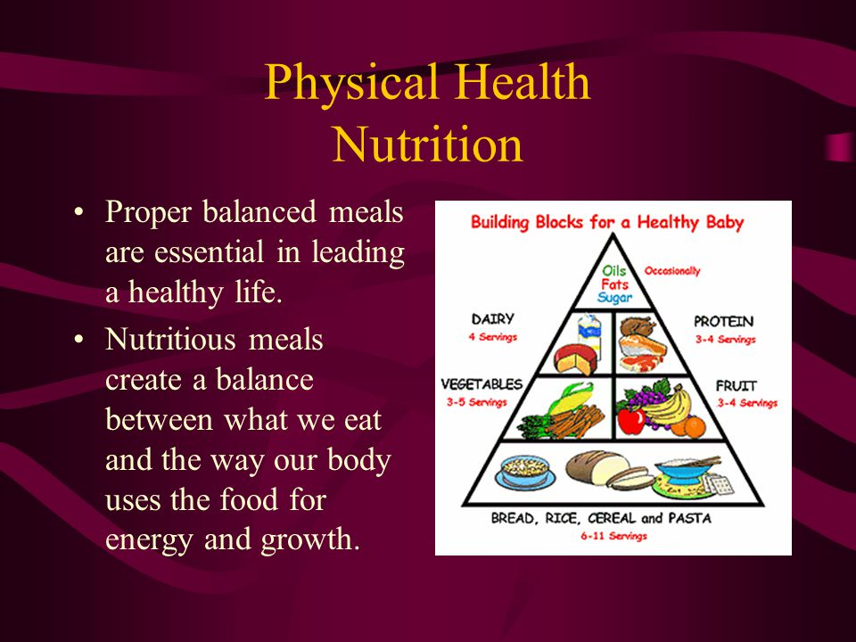 Physical Health Nutrition Proper balanced meals are essential in leading a healthy life. Nutritious meals create a balance between what we eat and the