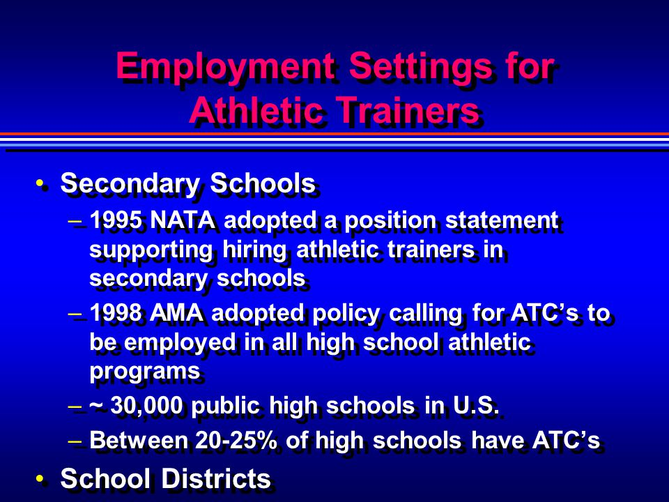Employment Settings for Athletic Trainers Secondary Schools –1995 NATA adopted a position statement supporting hiring athletic trainers in secondary s