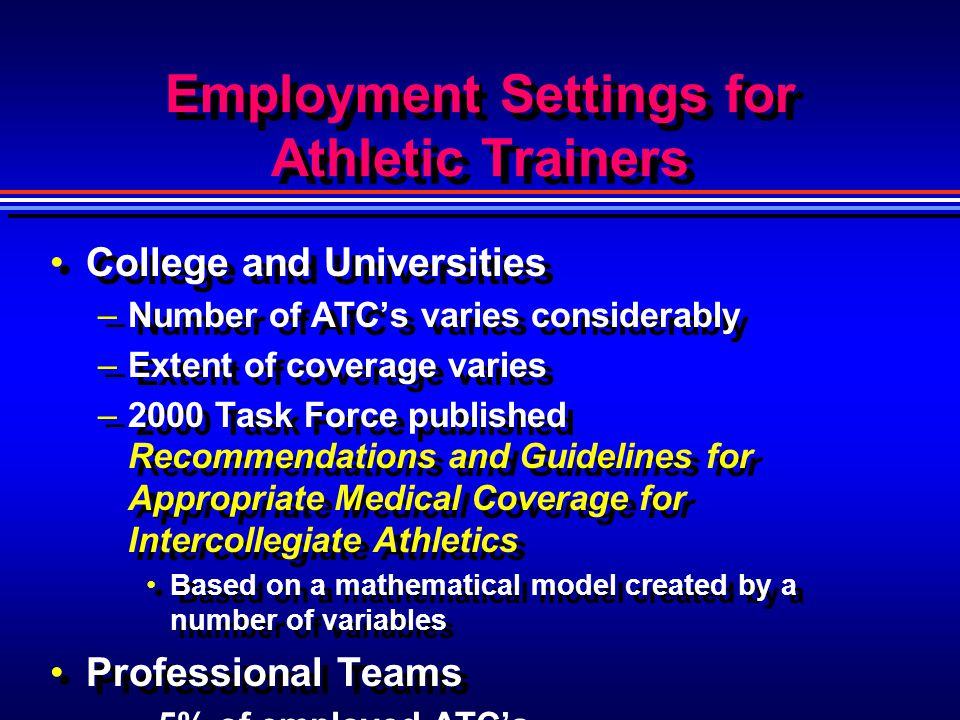 Employment Settings for Athletic Trainers College and Universities –Number of ATCs varies considerably –Extent of coverage varies –2000 Task Force pub