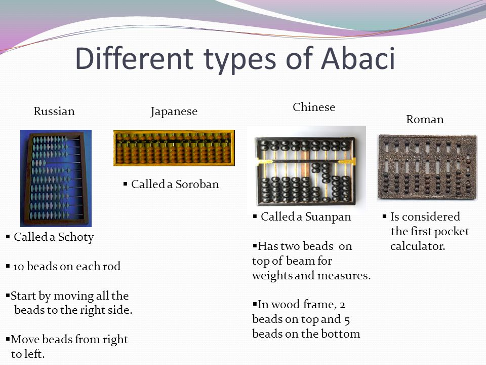 Different types of Abaci RussianJapanese Chinese Called a Schoty 10 beads on each rod Start by moving all the beads to the right side. Move beads from