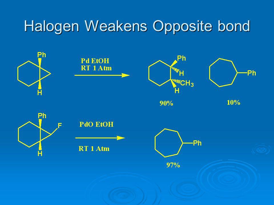 Halogen Weakens Opposite bond