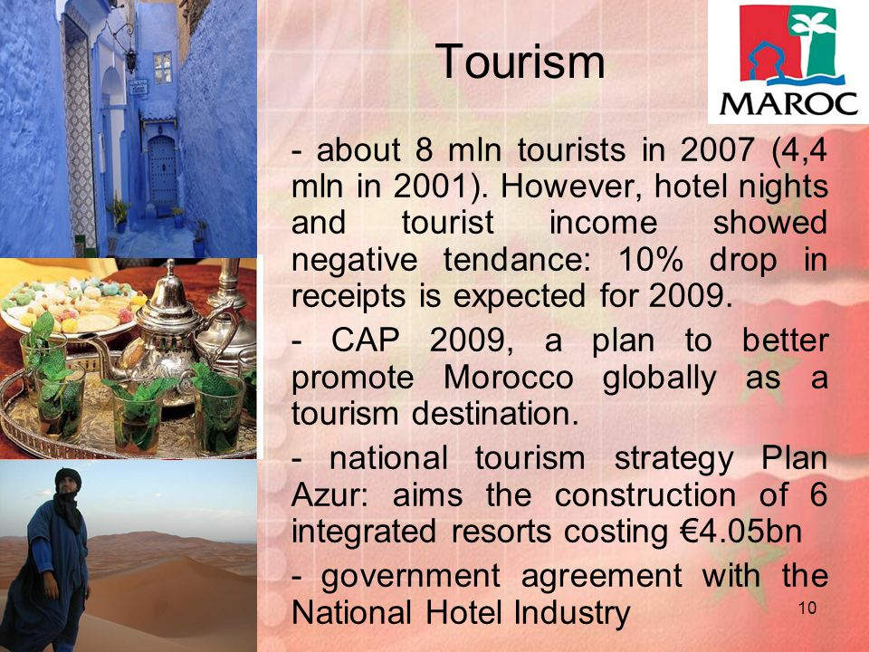 10 Tourism - about 8 mln tourists in 2007 (4,4 mln in 2001).