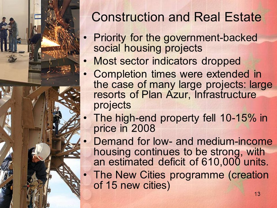 13 Construction and Real Estate Priority for the government-backed social housing projects Most sector indicators dropped Completion times were extended in the case of many large projects: large resorts of Plan Azur, Infrastructure projects The high-end property fell 10-15% in price in 2008 Demand for low- and medium-income housing continues to be strong, with an estimated deficit of 610,000 units.