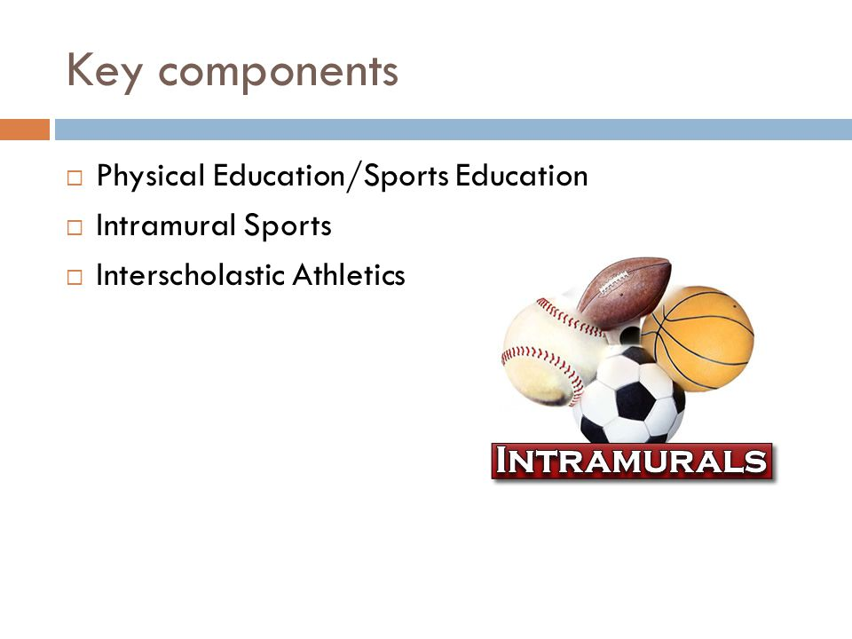 Key components Physical Education/Sports Education Intramural Sports Interscholastic Athletics
