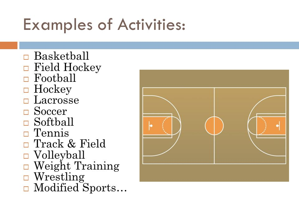Examples of Activities: Basketball Field Hockey Football Hockey Lacrosse Soccer Softball Tennis Track & Field Volleyball Weight Training Wrestling Mod