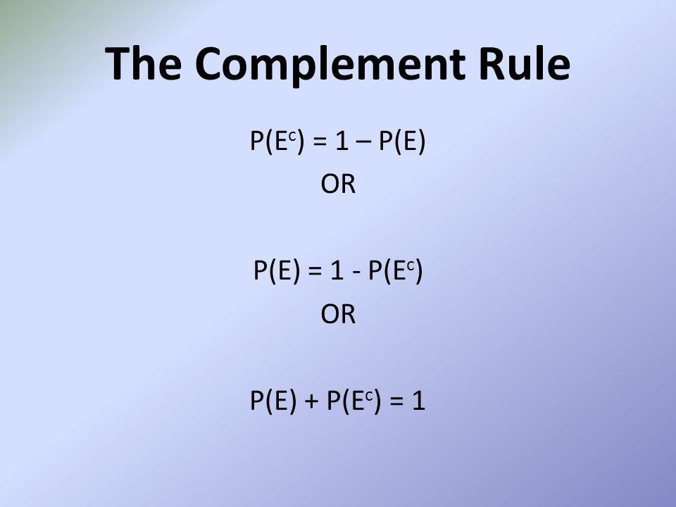 The Complement Rule P(E c ) = 1 – P(E) OR P(E) = 1 - P(E c ) OR P(E) + P(E c ) = 1