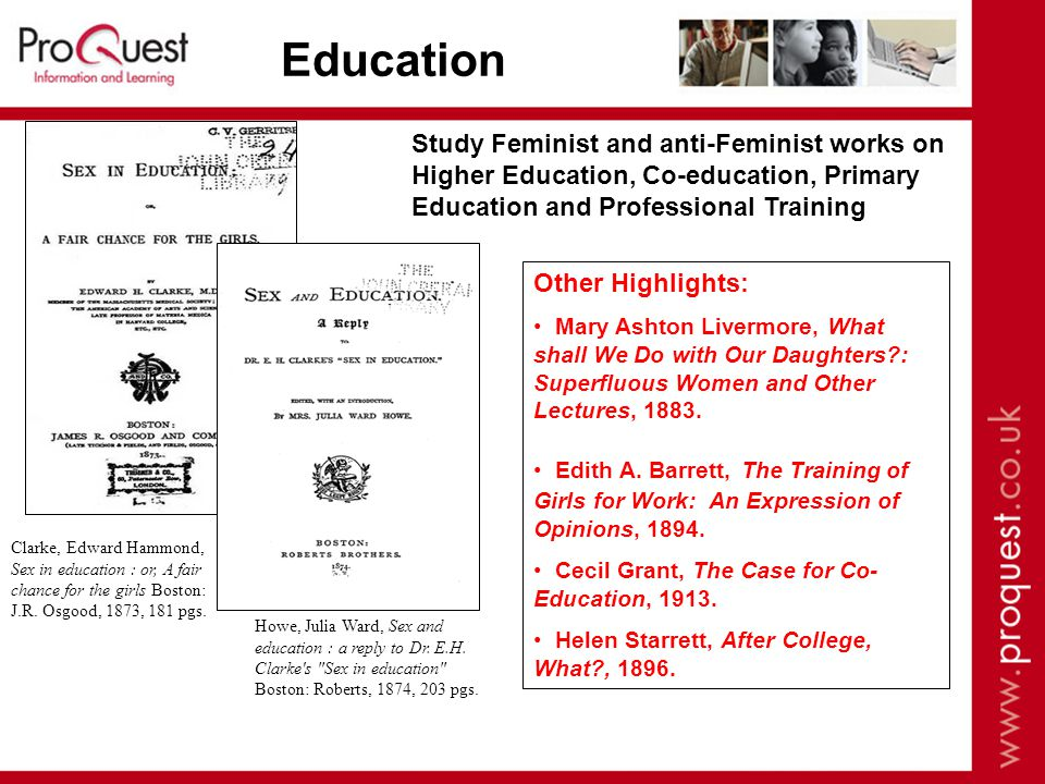 Clarke, Edward Hammond, Sex in education : or, A fair chance for the girls Boston: J.R.