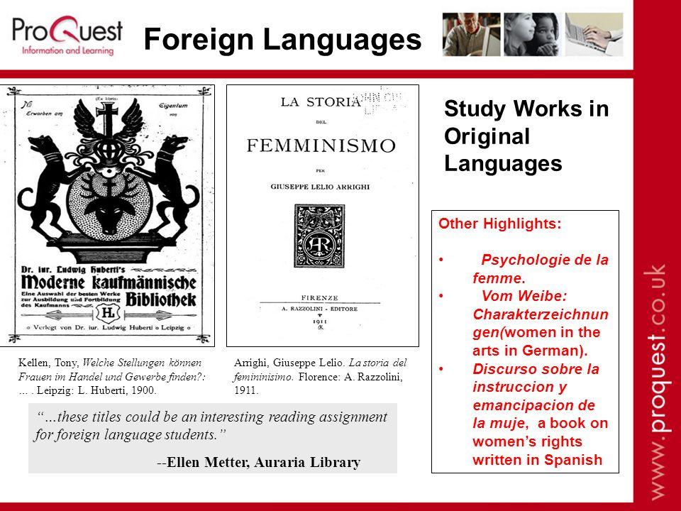 Foreign Languages Study Works in Original Languages Kellen, Tony, Welche Stellungen können Frauen im Handel und Gewerbe finden : ….