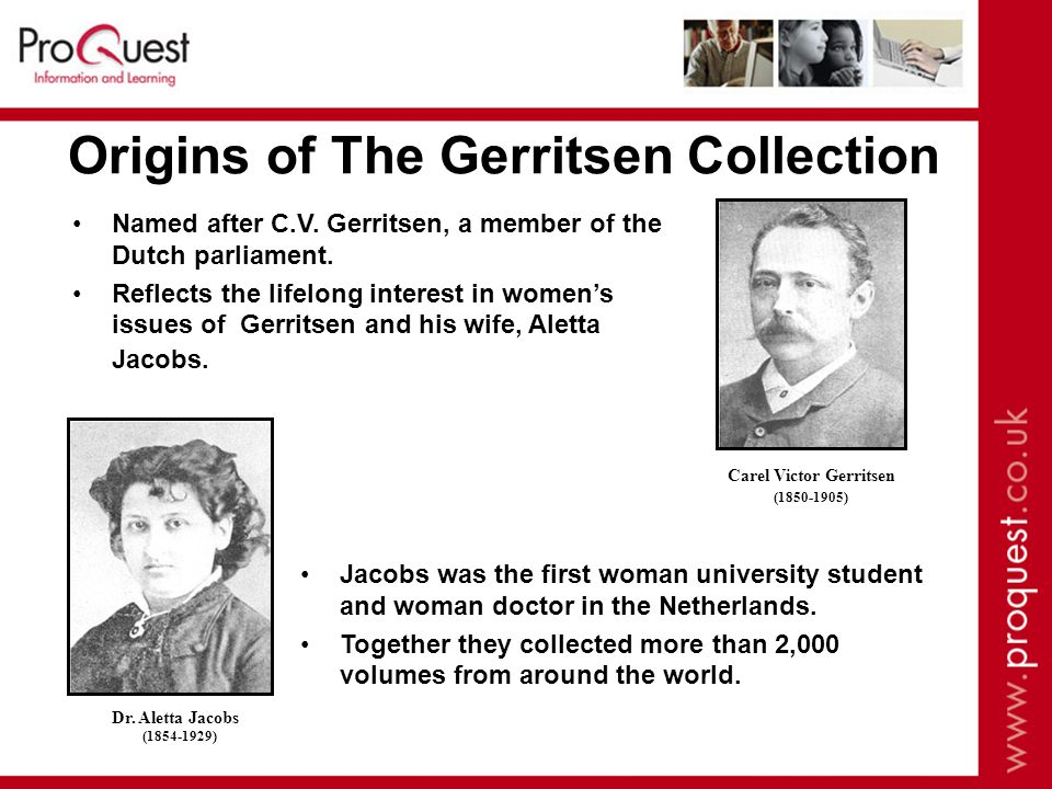Origins of The Gerritsen Collection Named after C.V.