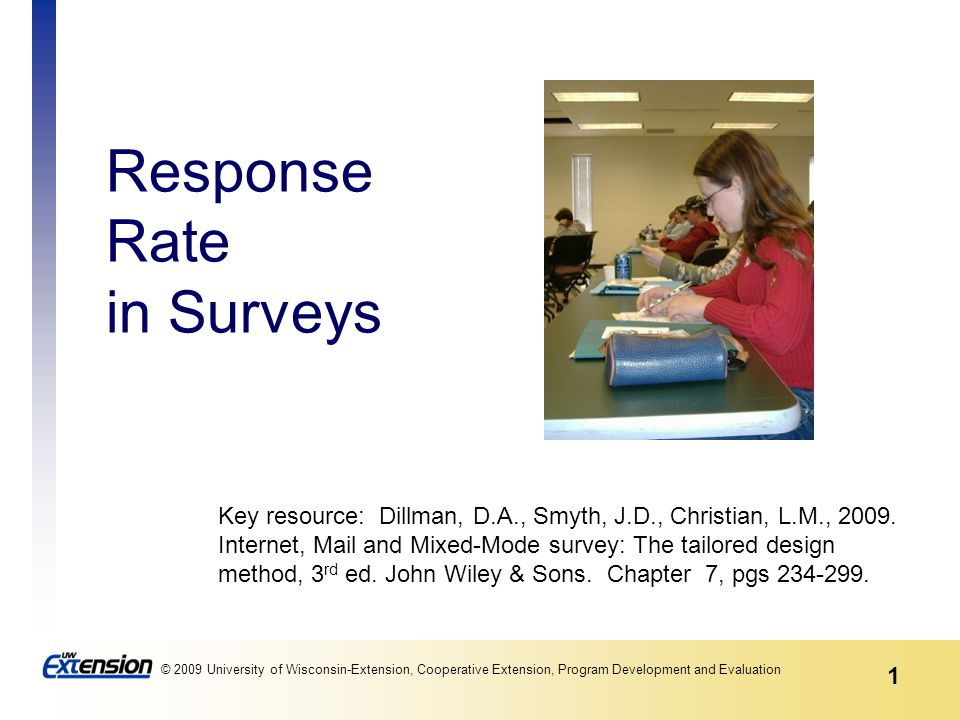 1 © 2009 University of Wisconsin-Extension, Cooperative Extension, Program Development and Evaluation Response Rate in Surveys Key resource: Dillman,