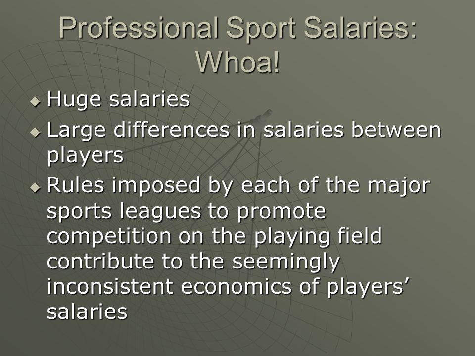 Professional Sport Salaries: Whoa! Huge salaries Huge salaries Large differences in salaries between players Large differences in salaries between pla
