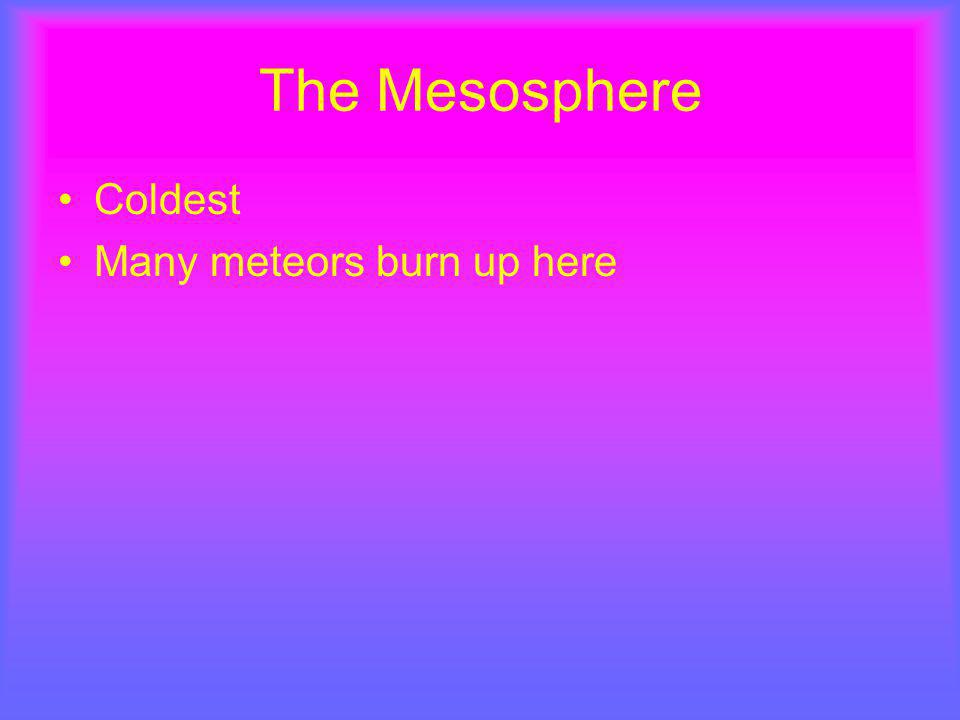 The Mesosphere Coldest Many meteors burn up here