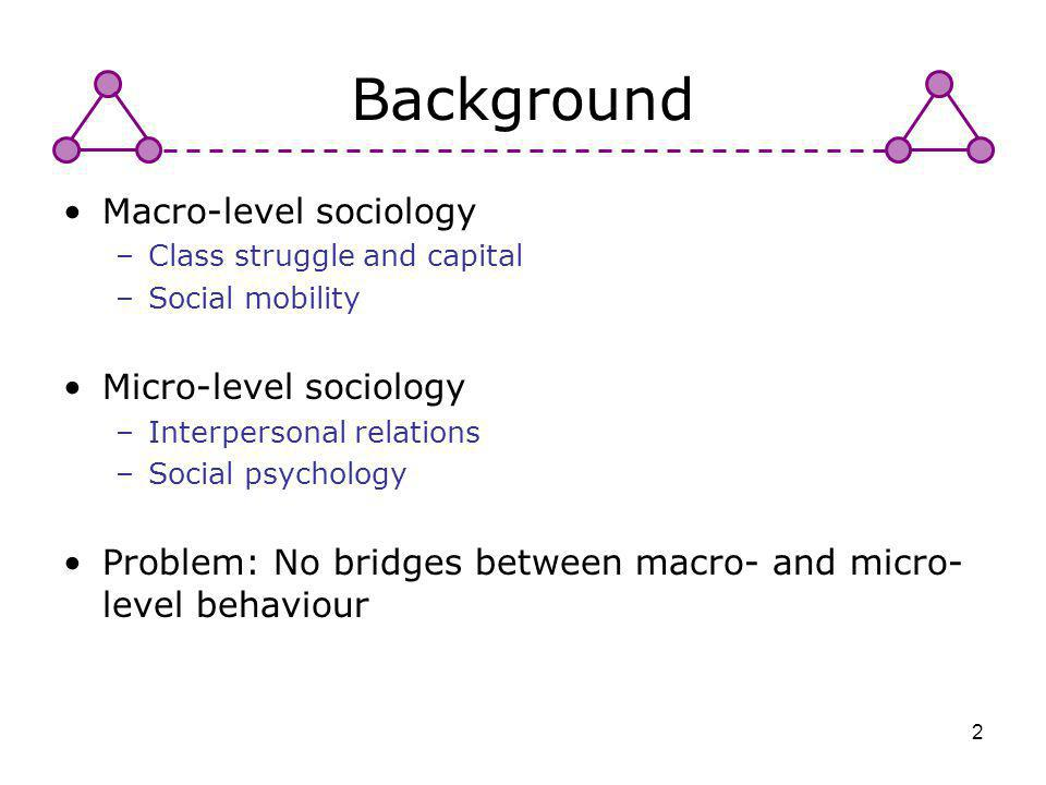 2 Background Macro-level sociology –Class struggle and capital –Social mobility Micro-level sociology –Interpersonal relations –Social psychology Prob