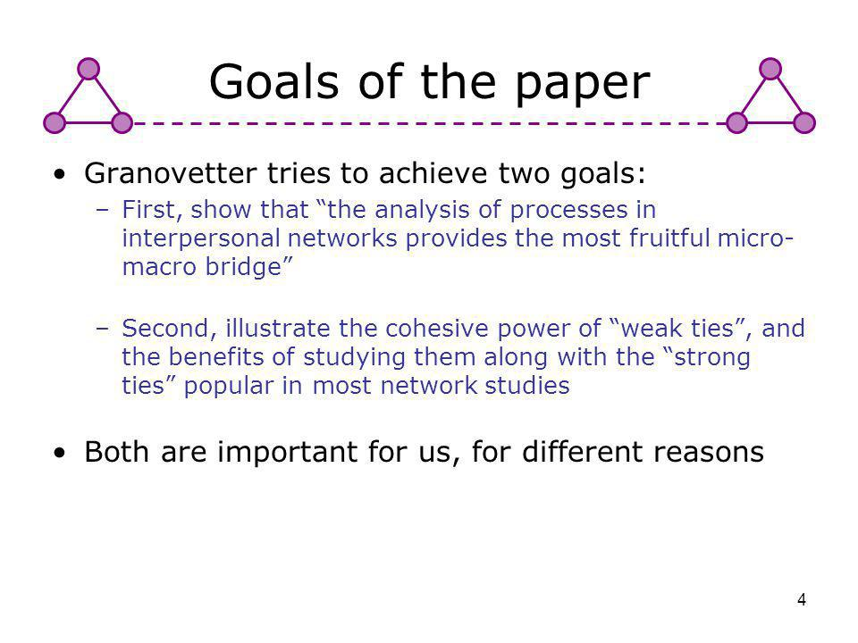 4 Goals of the paper Granovetter tries to achieve two goals: –First, show that the analysis of processes in interpersonal networks provides the most f
