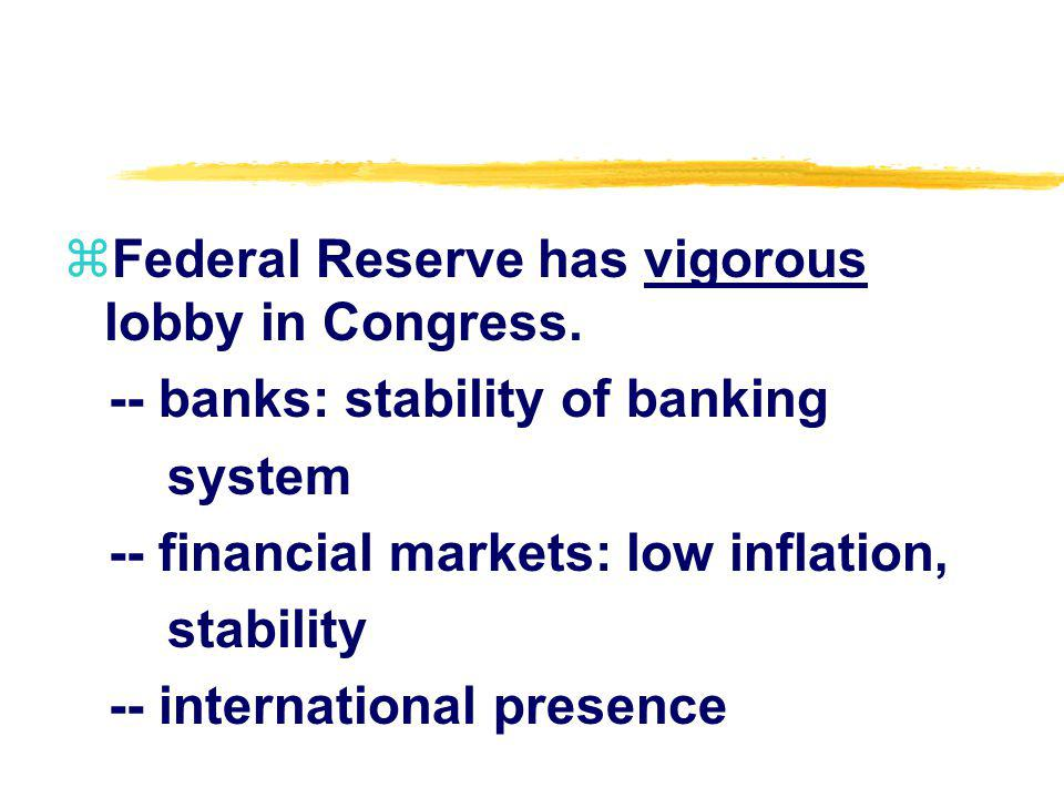 zFederal Reserve has vigorous lobby in Congress. -- banks: stability of banking system -- financial markets: low inflation, stability -- international