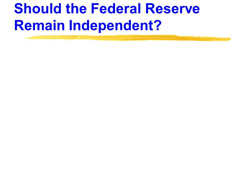 Should the Federal Reserve Remain Independent?