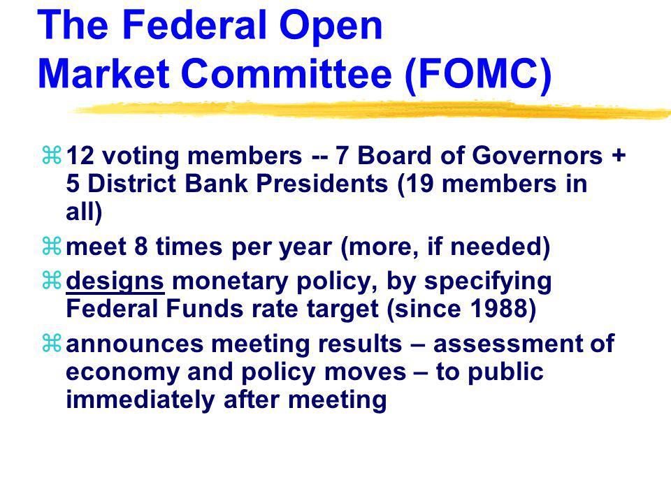 The Federal Open Market Committee (FOMC) z12 voting members -- 7 Board of Governors + 5 District Bank Presidents (19 members in all) zmeet 8 times per year (more, if needed) zdesigns monetary policy, by specifying Federal Funds rate target (since 1988) zannounces meeting results – assessment of economy and policy moves – to public immediately after meeting
