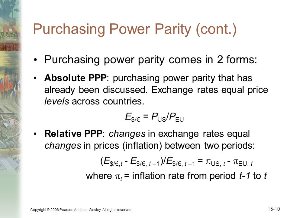 Copyright © 2006 Pearson Addison-Wesley. All rights reserved. 15-10 Purchasing Power Parity (cont.) Purchasing power parity comes in 2 forms: Absolute