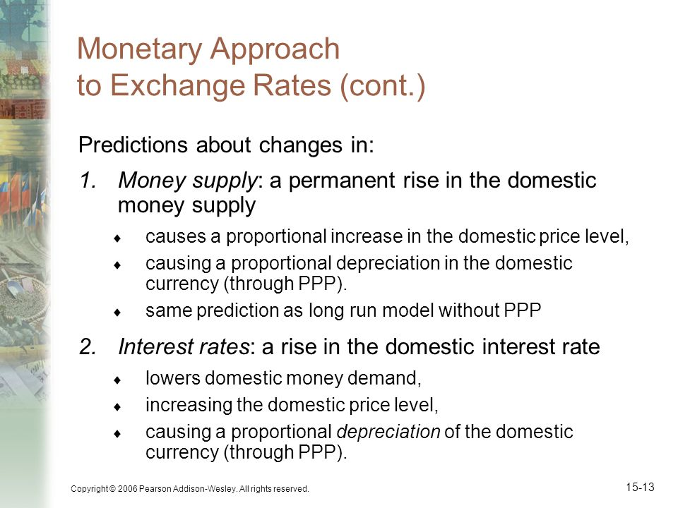 Copyright © 2006 Pearson Addison-Wesley. All rights reserved. 15-13 Monetary Approach to Exchange Rates (cont.) Predictions about changes in: 1.Money