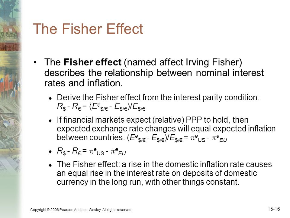 Copyright © 2006 Pearson Addison-Wesley. All rights reserved. 15-16 The Fisher Effect The Fisher effect (named affect Irving Fisher) describes the rel
