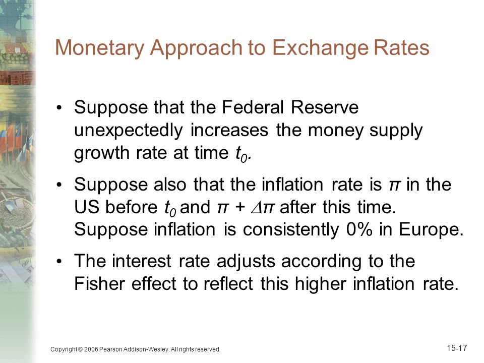 Copyright © 2006 Pearson Addison-Wesley. All rights reserved. 15-17 Monetary Approach to Exchange Rates Suppose that the Federal Reserve unexpectedly