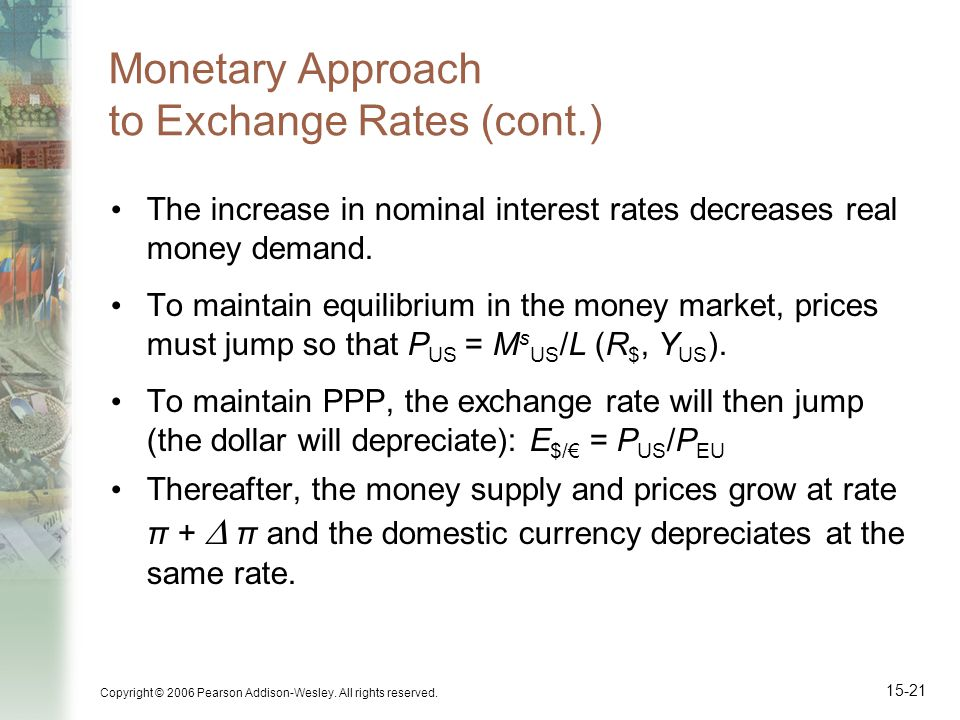Copyright © 2006 Pearson Addison-Wesley. All rights reserved. 15-21 Monetary Approach to Exchange Rates (cont.) The increase in nominal interest rates