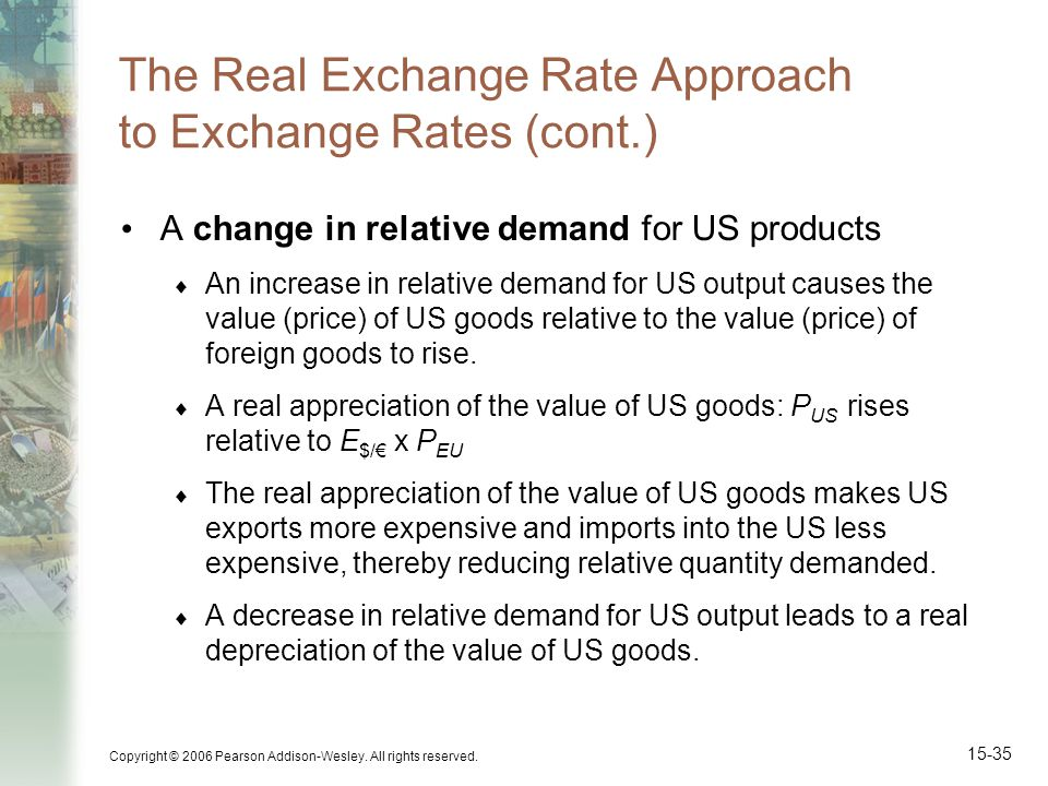 Copyright © 2006 Pearson Addison-Wesley. All rights reserved. 15-35 The Real Exchange Rate Approach to Exchange Rates (cont.) A change in relative dem