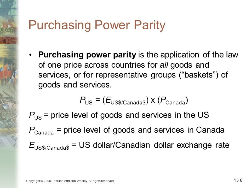 Copyright © 2006 Pearson Addison-Wesley. All rights reserved. 15-8 Purchasing Power Parity Purchasing power parity is the application of the law of on