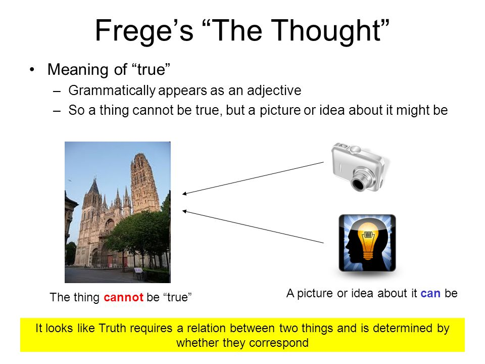Freges The Thought Meaning of true –Grammatically appears as an adjective –So a thing cannot be true, but a picture or idea about it might be The thing cannot be true A picture or idea about it can be It looks like Truth requires a relation between two things and is determined by whether they correspond