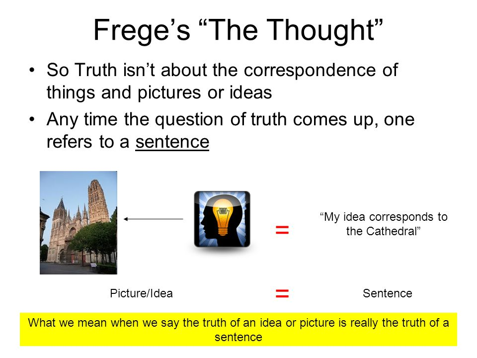 Freges The Thought So Truth isnt about the correspondence of things and pictures or ideas Any time the question of truth comes up, one refers to a sentence My idea corresponds to the Cathedral = = Picture/IdeaSentence What we mean when we say the truth of an idea or picture is really the truth of a sentence